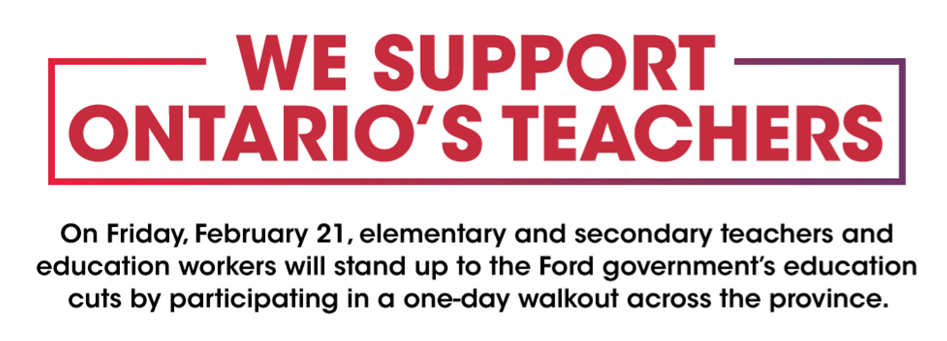 WUFA Supports Ontario's Teachers  Banner Image